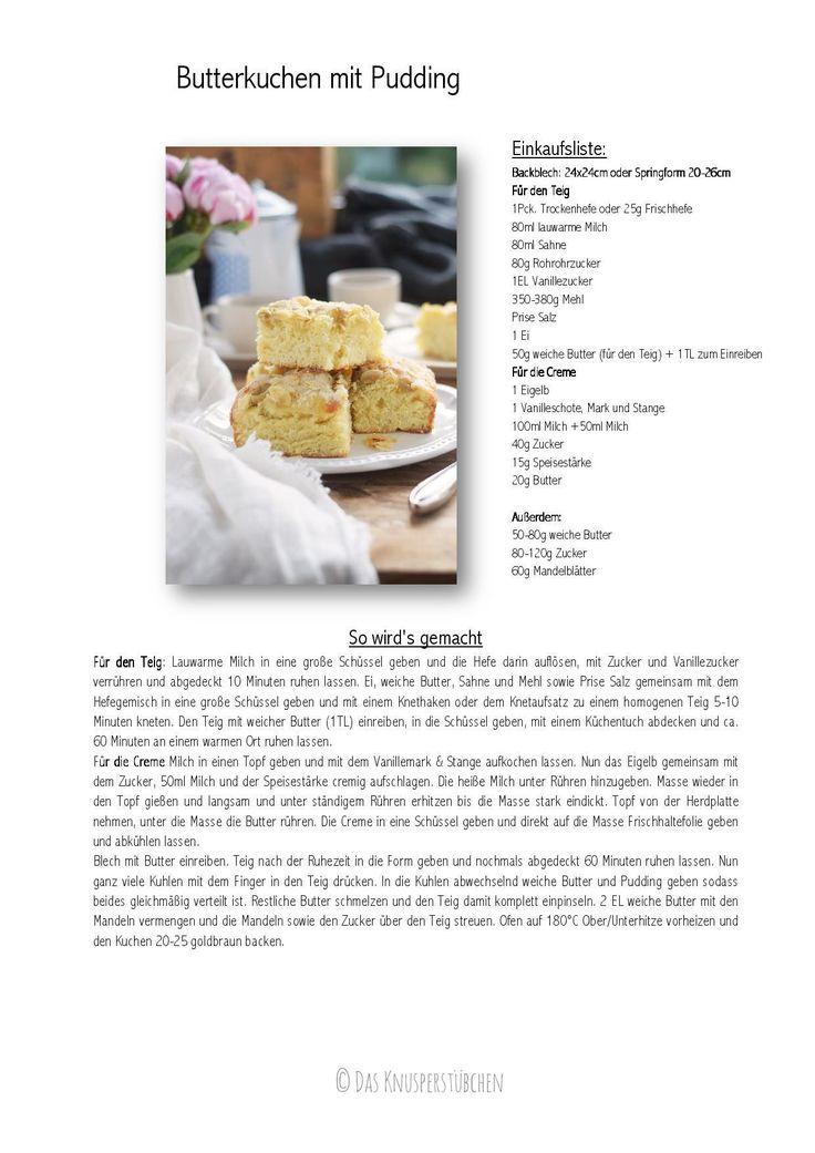 Butterkuchen mit Pudding - Butter Custard Cake Rezept 1-001