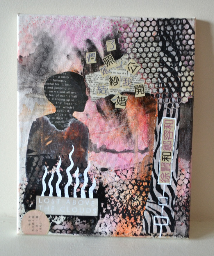 $50 This is Lost Above the Clouds, an original 8x10 mixed media canvas painting. Copyright 2012 Moira Richardson.