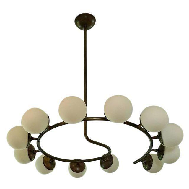 12 Globe Italian Modern Brass Chandelier by Studio Machina