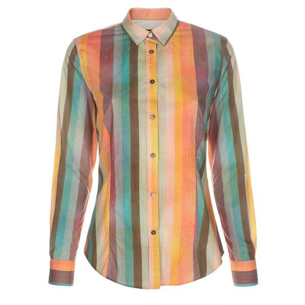 Paul Smith Women's 'Multi-Colour Stripe' Print Cotton Shirt (580 BRL) ❤ liked on Polyvore featuring tops, shirts, striped top, colorful striped shirt, cuff shirts, double cuff shirt and collared shirt