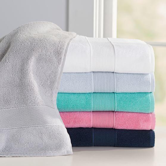 Pottery Barn Teen Classic Organic Bath Towels, Washcloth, Bright Navy