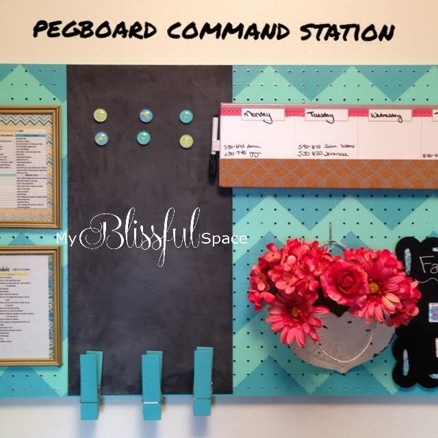 My Blissful Space: Pegboard Command Station {Tutorial}Prime, Paint, Seal. Add Details...and a DIY chuck board: Rustoleum Chalkboard Paint on a steel piece of 12x24 flashing that I get at the local home improvement store. It takes a coat of oil-based primer and 2-3 coats of the paint. I have learned that a foam brush provides the best application