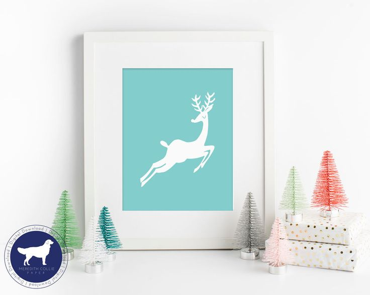 Aqua Christmas Reindeer   Instant Download   Printable Holiday Art Prints   Christmas Art   Reindeer Silhouette   PDF download by MeredithColliePaper on Etsy