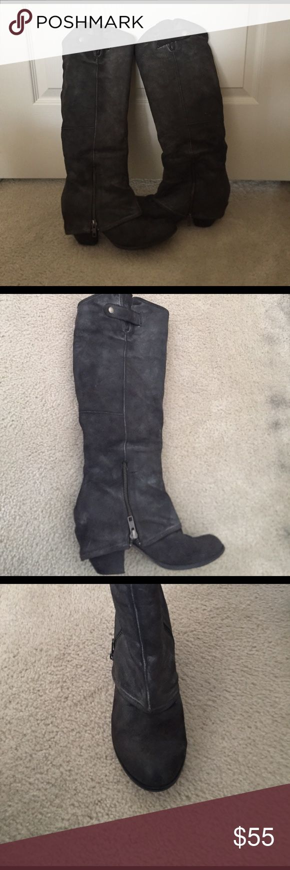 Fergie Distressed Gray Leather Boots Gorgeous gently worn Fergie boots! Let me know if you have any questions! Fergie Shoes Heeled Boots