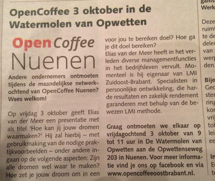 Vermelding website #opencoffee Oost-Brabant in #DeNueneseKrant