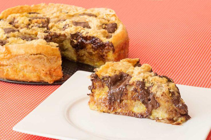 Receita de Torta de Banana com Chocolate Suflair. Muito fácil de fazer. Basta…