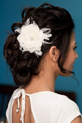 Pretty wedding hair with feather hair piece