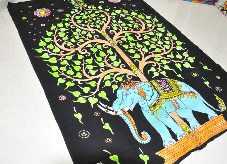 Elephant Tie Dye Tapestries, Hippie Tapestry , Twin Tree Of Life Wall Tapestries