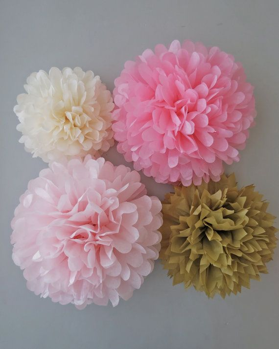 Pink & Gold Tissue Paper Pom Poms - 4 Piece Collection - Weddings - Bridal Shower - Decorations - Birthday - Nursery - Party Decorations