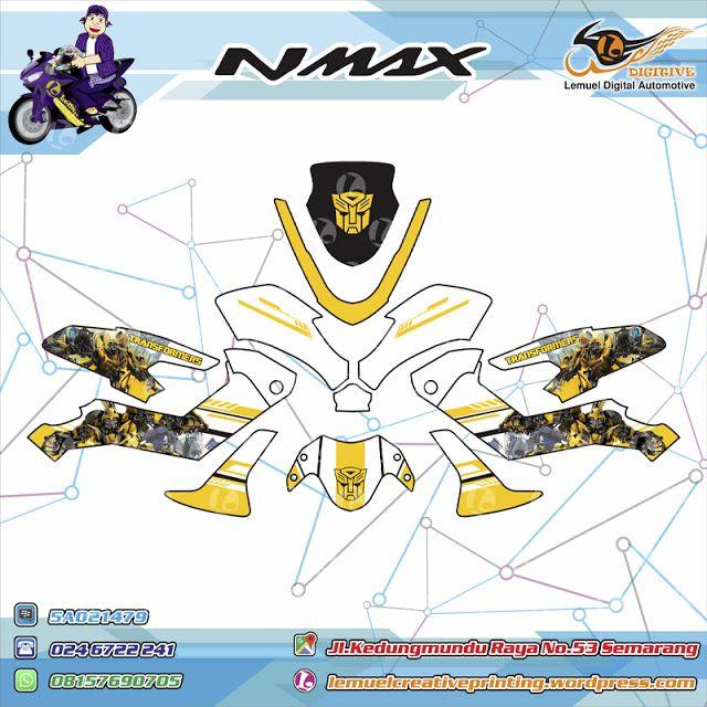 Custom Striping Motor Full Body Yamaha NMAX Thema Transformer Bumblee Bee Berkualitas Dengan Desainmu Sendiri by DIGITIVE