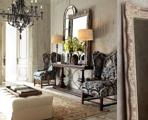 love the wingbacks, mirrors, & that chandelier ~ from Stylish Foyer and Entryway Ideas