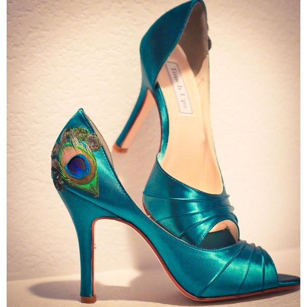 Teal Satin Pleated Peep Toe Peacock Pumps ANY SIZE ❤ liked on Polyvore featuring shoes, pumps, high heel shoes, peacocks shoes, satin pumps, high heel pumps and high heeled footwear