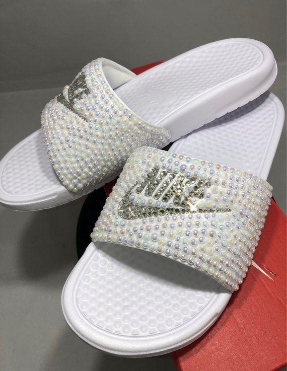 Women s Nike Benassi Slide Sandals- Bling Nike Slides- Bling   Pearls Nike  Slide Shoes- Custom Nike Slides- Swarovski Crystal Nike Slides 42b2d08134