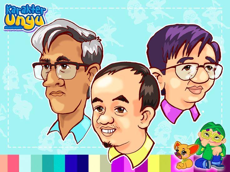"""karikatur 3 bapak yang akan memberikan """"Sekapur sirih"""" buku 'Karakter UNYU Nganimasi'"""