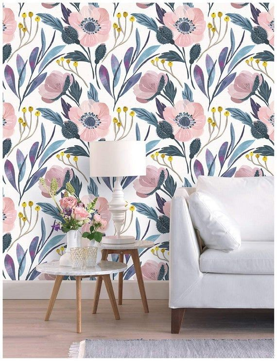 Watercolor Peony Floral Peel And Stick Wallpaper Removable Etsy Modern Floral Wallpaper Watercolor Peonies Floral Wallpaper
