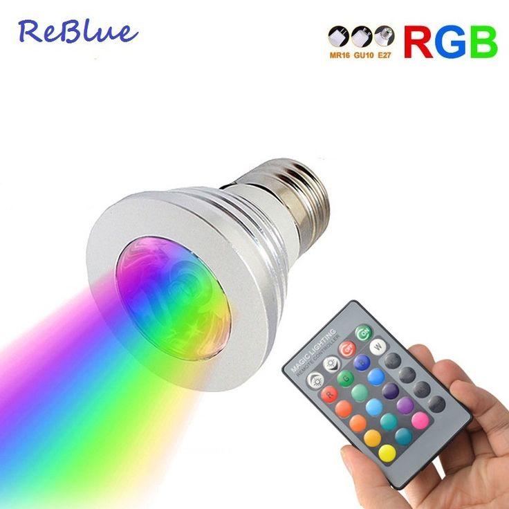 ReBlue Ampolletas Led e27 RGB E27 IR Remote Control bombillas lampe 3W lampada GU10 RGB Ampoule Leds Bulb lampada focos led 12V