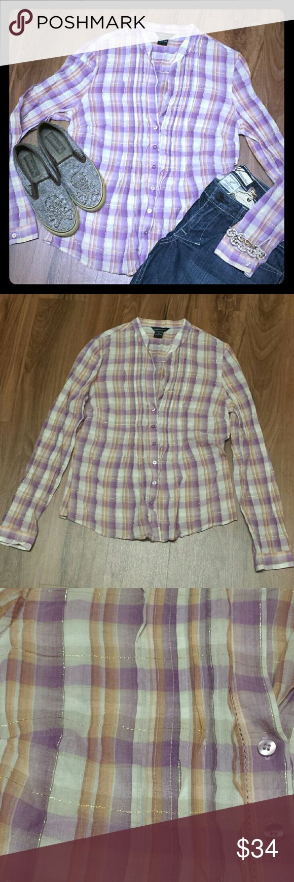 Victoria Secret Moda plaid glitter linen boho top Absolutely gorgeous Moda International Victoria's Secret light weight (think linen) button down in ivory, purple, and orange plaid with gold glitter, cut outs, and pleating in size medium. Very good pre-owned condition; I wish it still fit.  Top only. See separate listing(s) for other item(s). Victoria's Secret Tops Button Down Shirts