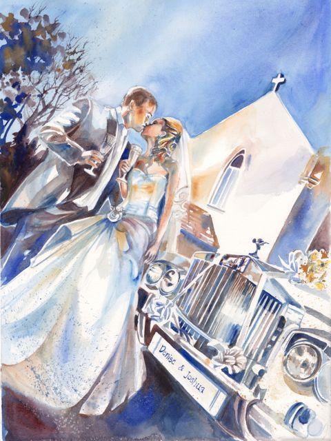Original Custom Watercolor Wedding Portrait by SimplyArtByKristin, $183.75