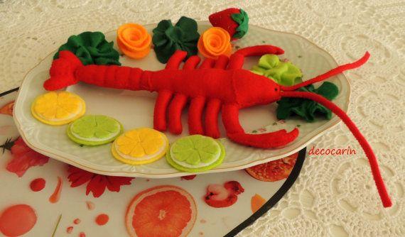 Felt Food Felt Lobster Set Felt Lemon Lime Strawberry by decocarin