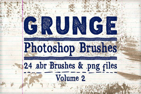 Grunge Photoshop Brushes Vol 2 by Clikchic Designs on @creativemarket
