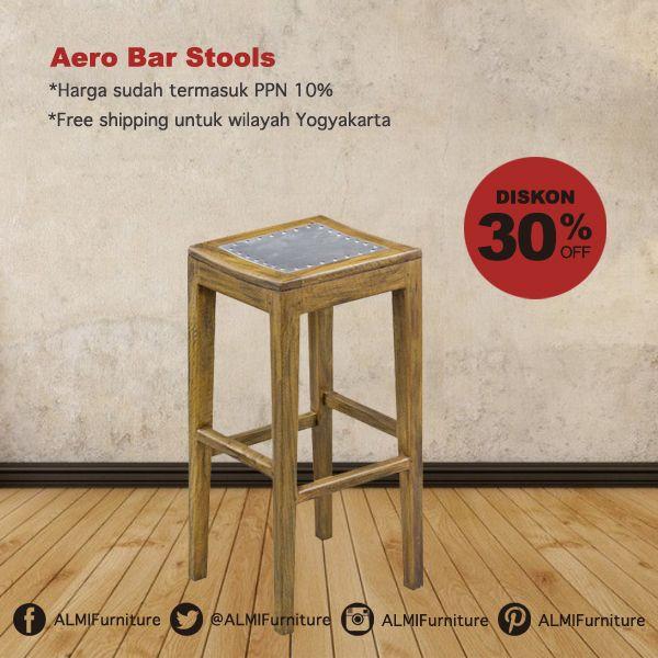 Masih dengan Diskon 30%, Aero Bar Stools dengan desainnya yang cantik dan kontruksi kayu yang kokoh ini siap melengkapi mini bar di ruang tamu Anda. Info Pemesanan Telp. (0274) 4342 888 (Customer Service & Sales) Cek disini..http://ow.ly/YRxdq