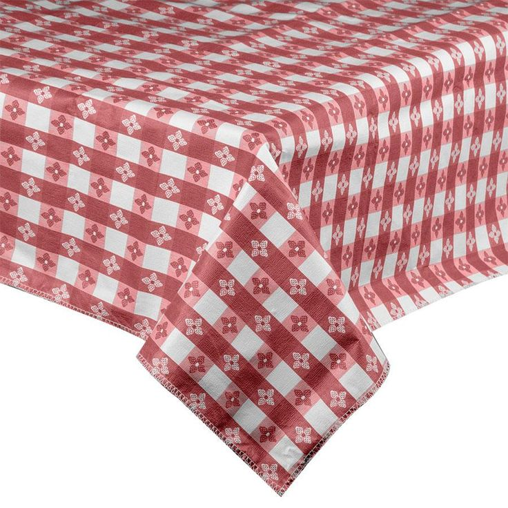 """52"""" x 52"""" Burgundy-Checkered Vinyl Table Cover with Flannel Back"""