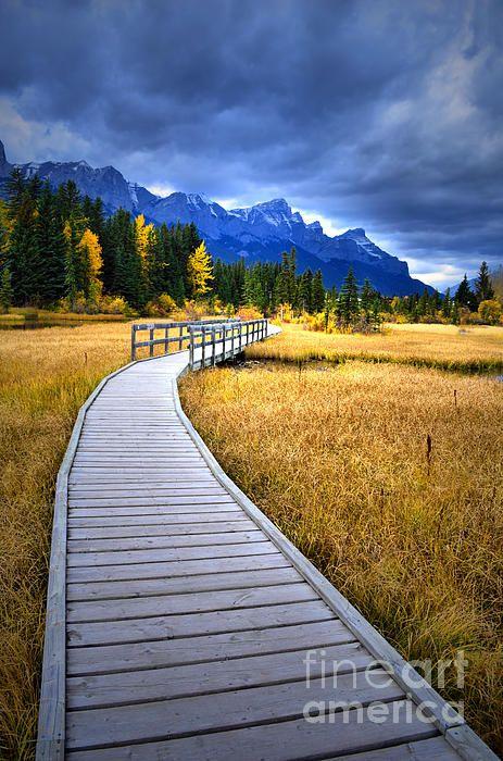 Boardwalk in Canmore, Alberta Canada