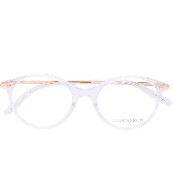 Boucheron oval frame glasses ($634) ❤ liked on Polyvore featuring accessories, eyewear, eyeglasses, white, clear eye glasses, oval glasses, boucheron, clear eyewear and white eyeglasses