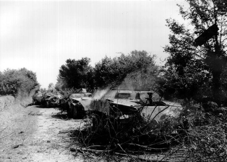 Un convoi de véhicules blindés allemands de type Schützenpanzerwagen finit de se consumer sur la route de Carrouges. 13 août 1944. © Conseil régional de Basse-Normandie/National Archives USA