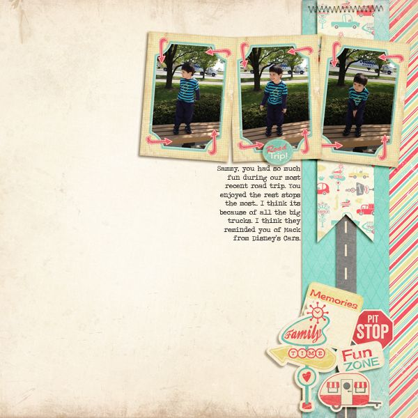 Digital scrapbook layout by designer Claudia Harvey featuring the Retro Road Trip collection by Samantha Walker available at www.snapclicksupply.com #digitalscrapbooking #snapclicksupply