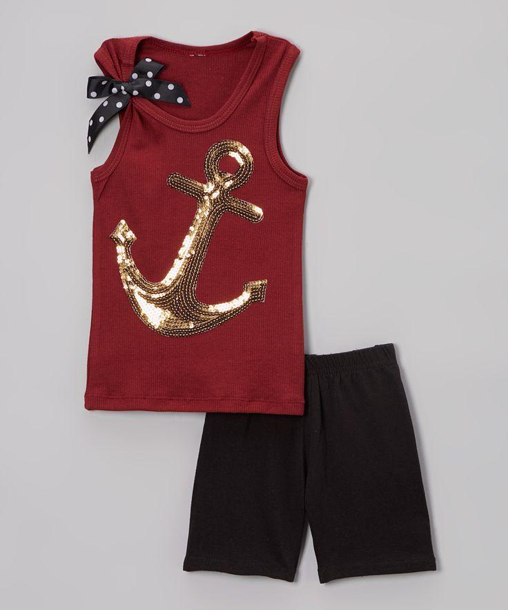 Burgundy Anchor Tank & Black Shorts - Infant Toddler & Girls