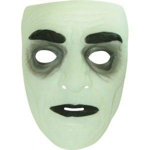 Masque homme phosphorescent, Masque homme phosphorescent blanc transparent, Halloween, fêtes, carnaval.