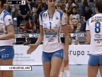 NICE! Curvy Spanish volleyball girls looking great in their little blue spandex shorts!