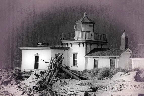 Lighthouse Photo, Black and white, Vintage look, Seattle Wa., Fine Art Image, West Point Lighthouse Photo,
