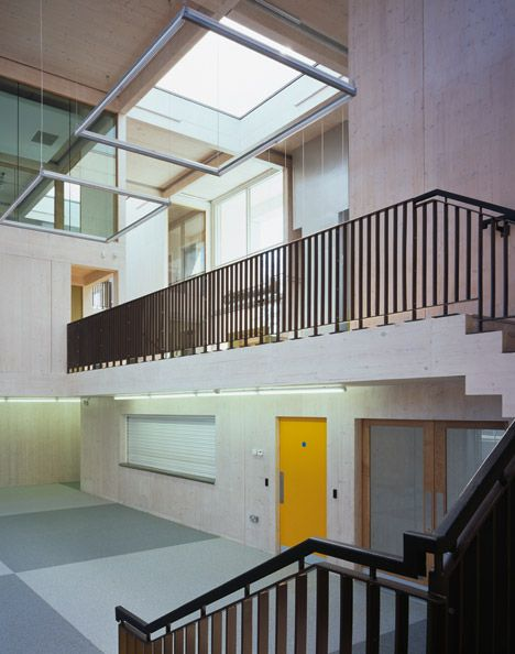 Interior shot of a London youth centre featuring a translucent polycarbonate facade.