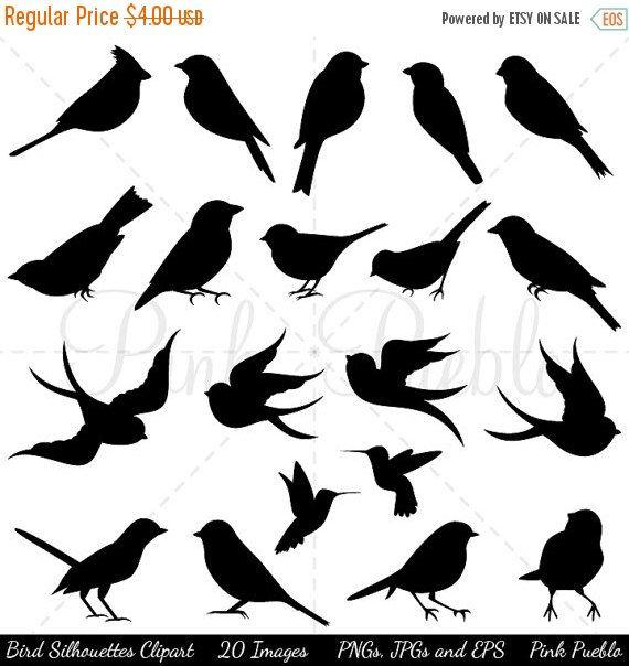 LABOR DAY SALE oiseau Silhouettes Clip Art Clipart par PinkPueblo