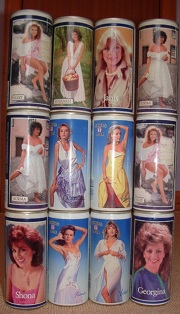 Tennent's Lager in a can with 1970s pin up girls. Only in Scotland!