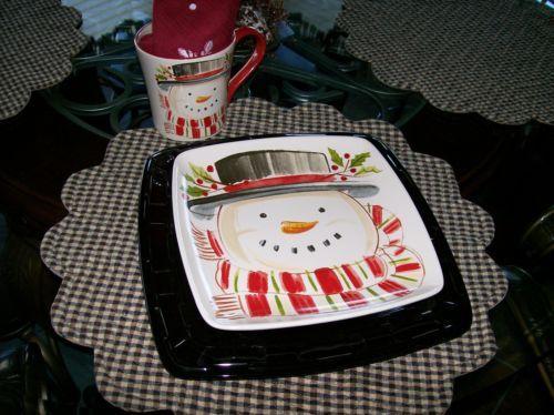 Longaberger Pottery 8 PC Dinnerware Set Top Hat Snowman New in bxs Cute | eBay & 47 best dining sets ❦ jedálenská súprava images on Pinterest ...
