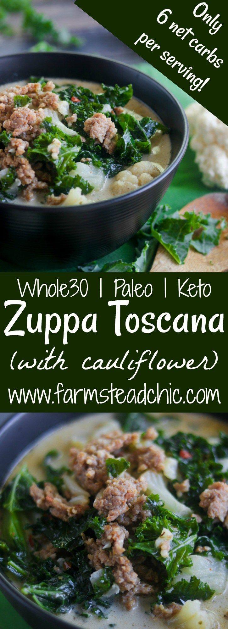 Low Carb, Keto Zuppa Toscana with Cauliflower (Paleo and Whole30)