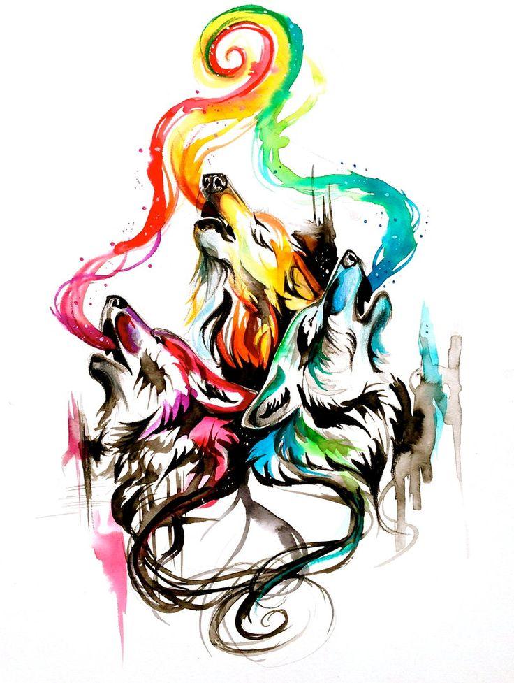 Howling Wolf Triad by Lucky978.deviantart.com on @deviantART