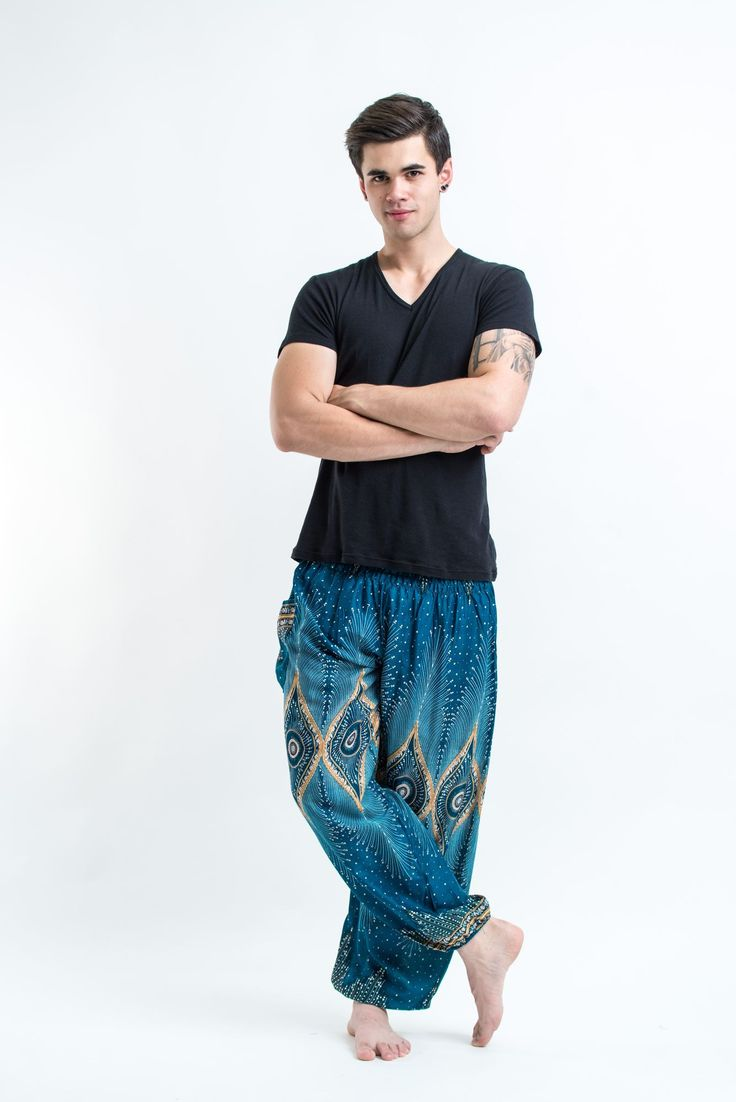 "Amazingly soft Diamond Peacock Men's Harem Pants. Cotton/Rayon Blend. Free International Shipping on Orders over $60 at HaremPants.com Approx. Measurements: Waist: 24"" to 38"" Hips: up to 44"" Inseam: 3"