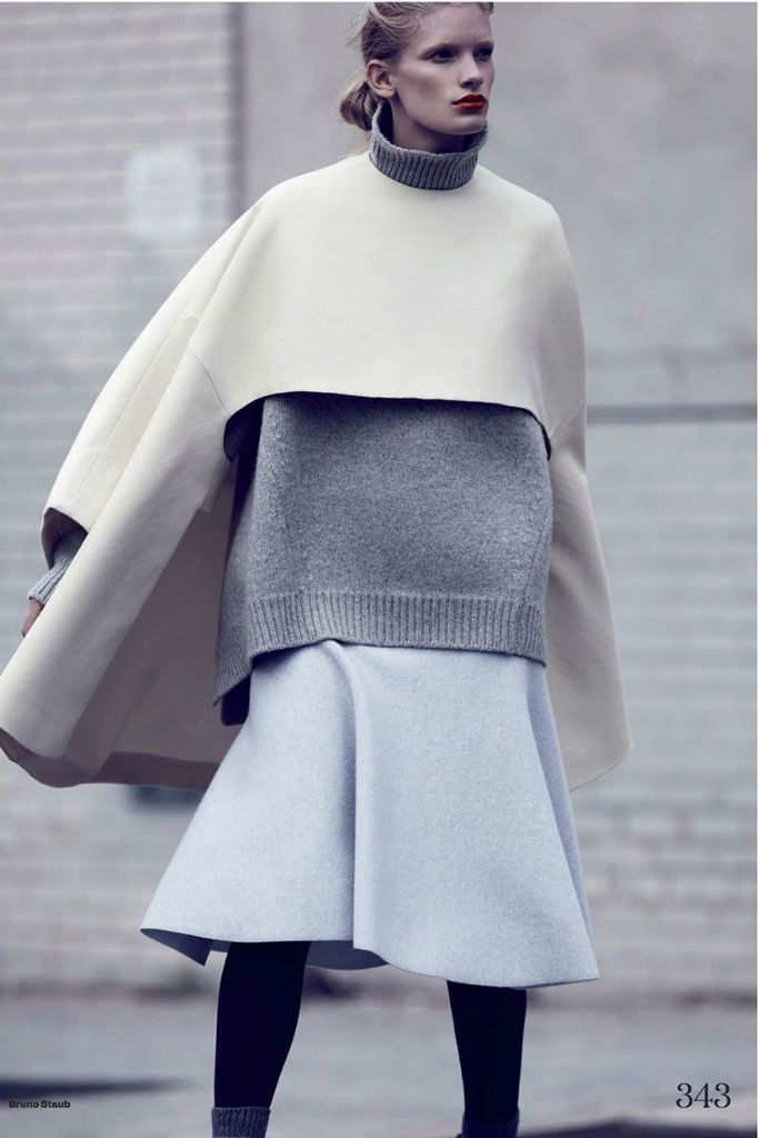 Ilse De Boer By Bruno Staub for Uk Elle October 2013 - Without a seam in sight, the tones of each fabric complement each other to evoke a sense of casual, windswept minimalism with an icy edge.
