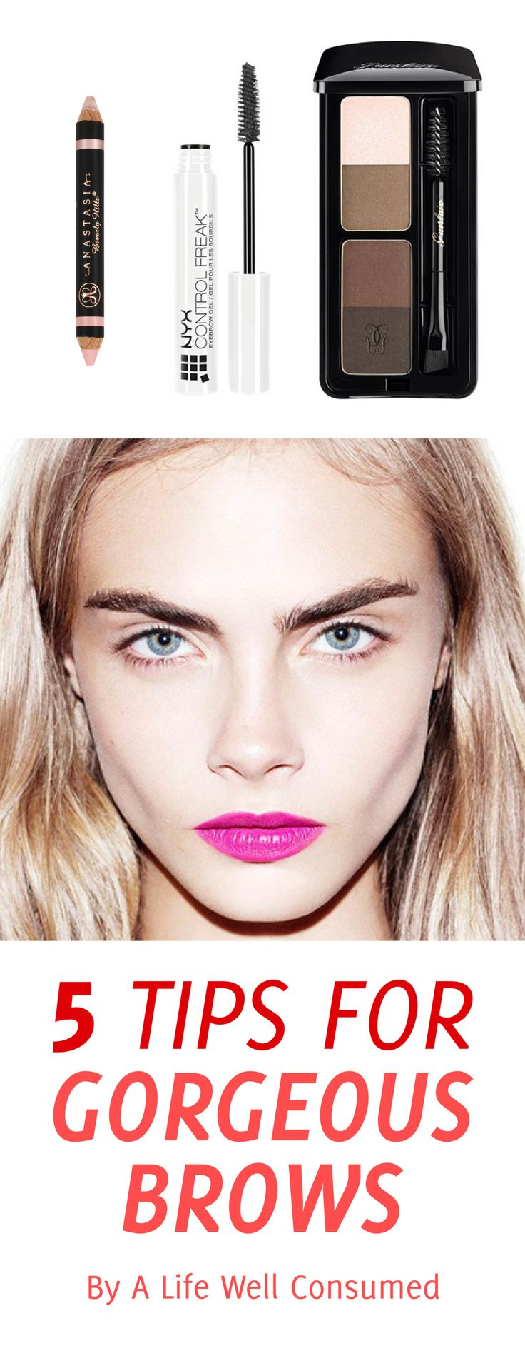 The 5 best tips for gorgeous brows are on the blog. Want brows like Cara Delevigne? Then these tips will put you on the right track.