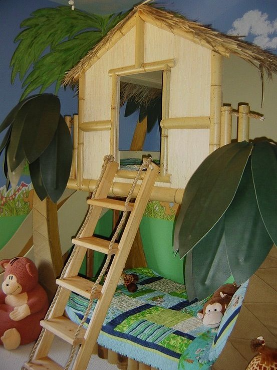 jungle themed bedroom for kids | Jungle themed loft bed for kids room design