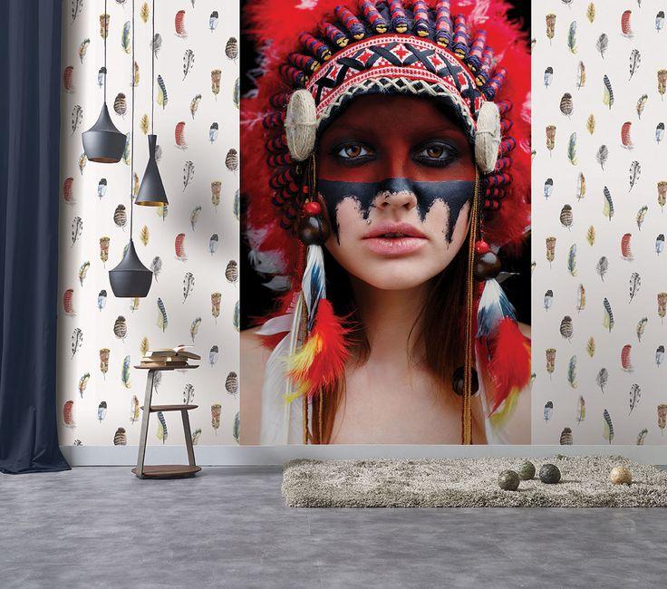 Global Fusion multi-coloured feather motif alongside large scale mural!