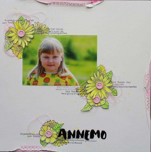 Scrapbook layout with stamps by Altenew