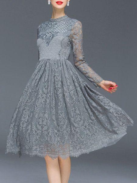 Shop Midi Dresses - Gray Long Sleeve Lace Midi Dress online. Discover unique designers fashion at StyleWe.com.