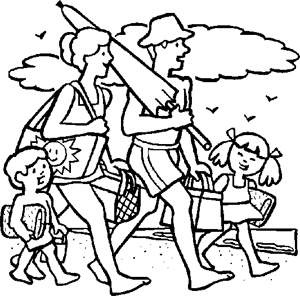 Free Kids Coloring Pages: Family on Beach-