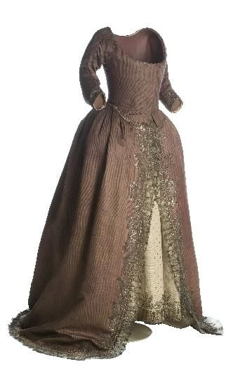 """Gown in """"French purple"""", 1790, Spain, silk, taffeta, silver, cotton, linen, metallic lace applied to silver wound silk. In Spain this dress was """"vaquero hecho a la inglesa"""" [rough translation: cowboy in the manner of """"robe à l'anglaise] or just simply """"vaquero"""" [cowboy] Popular in the last decade of the eighteenth century. inventory CE000660A"""