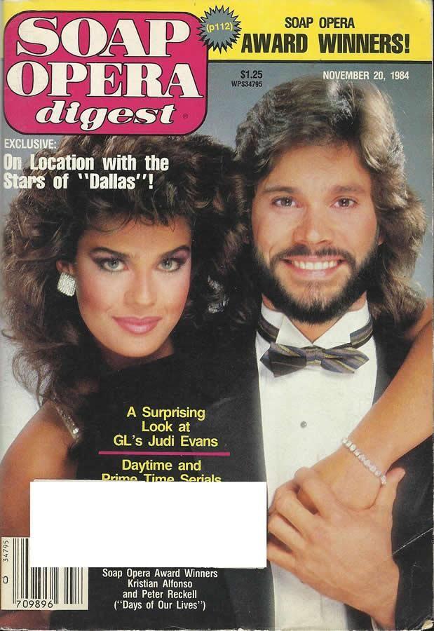 Kristian Alfonso & Peter Reckell (Hope & Bo #DAYS) 11/20/84 http://classicsodcovers.tumblr.com/